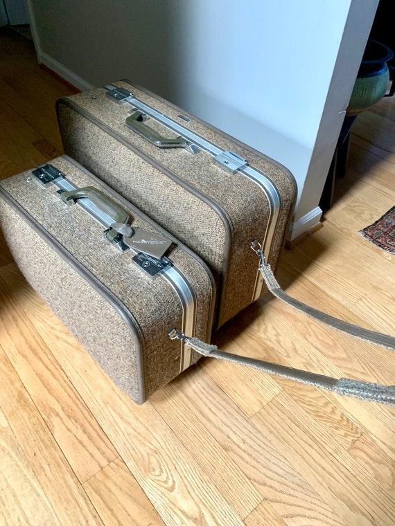 Set of Halston III Tweed Suitcases | Rolling Twee… - image 6
