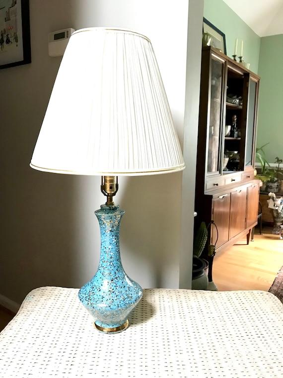 Vintage Mid Century Ceramic Lamp   MCM Table Lamp   Blue, Black and Gold Desk Lamp   Art Deco Night Stand Lamp   Retro Blue Atomic Lamp
