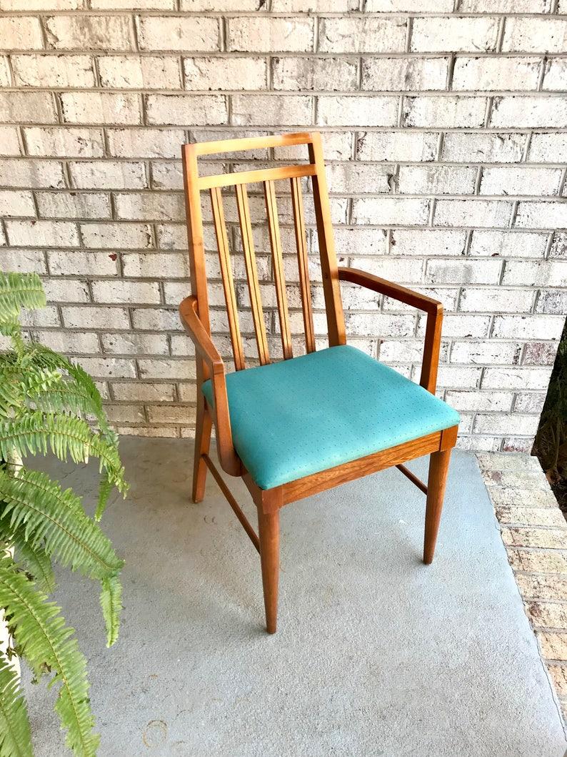 Charmant Danish Modern High Back Chair | Wooden Slat Back Arm Chair| Mid Century  Dining Chair| MCM Accent Chair | Modern Desk Chair | Turquoise Chair