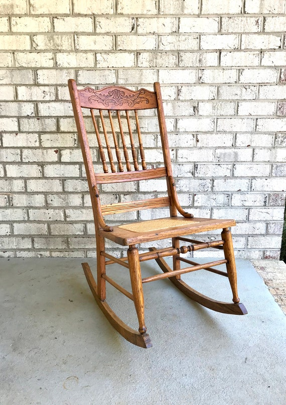 Antique Solid Wood Rocking Chair Cane Bottom Rocking Chair | Etsy