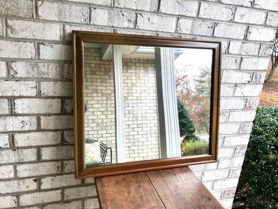 Antique Wood Framed Mirror Rustic Wall Mirror Distressed Wood Frame Mirror Farmhouse Decor Hanging Framed Mirror Mantel Mirror