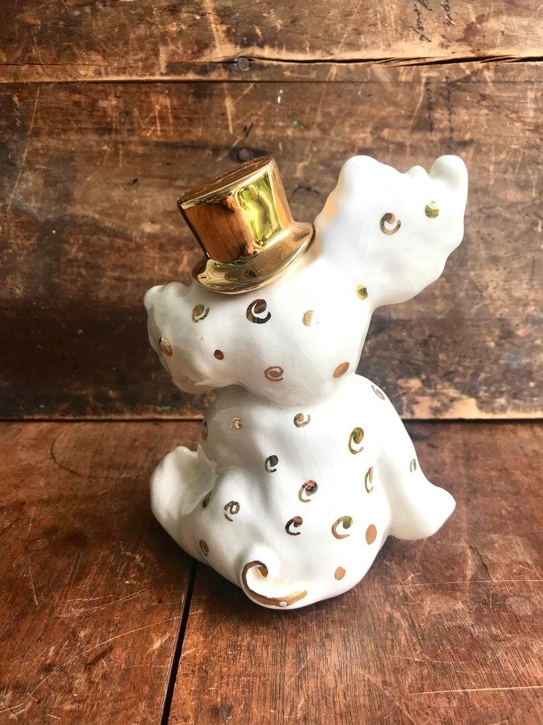 Kids Room Decor | Elephant Lover Gift Vintage Ceramic Elephant Figurine Baby Elephant in Top Hat Nursery Decor