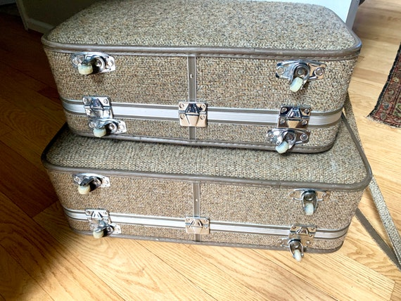 Set of Halston III Tweed Suitcases | Rolling Twee… - image 8