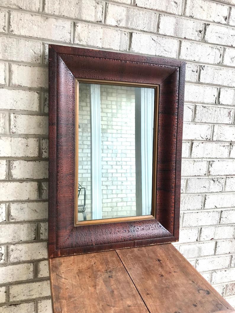 Antique Wood Framed Mirror Distressed Wood Frame Mirror Farmhouse Decor Hanging Framed Mirror Mantel Mirror