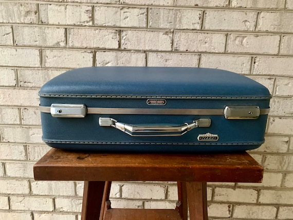 American Touister Suitcase   Vintage Navy Blue Tra