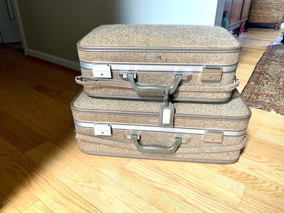 Set of Halston III Tweed Suitcases | Rolling Tweed