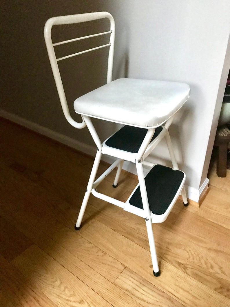 Groovy Vintage Cosco Step Stool White Metal Step Stool Mid Century Industrial Stool White Step Stool Cottage Chic Retro Stool Kitchen Stool Gmtry Best Dining Table And Chair Ideas Images Gmtryco