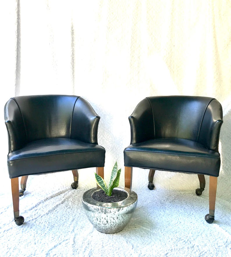 Swell Vintage Black Rolling Club Chairs Black Faux Leather Arm Chairs Black Barrel Back Chairs On Wheels Mid Century Club Chairs Brass Tacks Interior Design Ideas Gentotryabchikinfo
