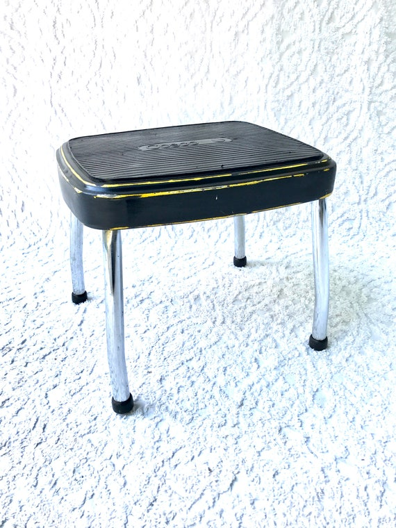 Astonishing Vintage Cosco Step Stool Black Step Stool Mid Century Industrial Stool Distressed Black Step Stool Rustic Black And Yellow Retro Stool Ocoug Best Dining Table And Chair Ideas Images Ocougorg