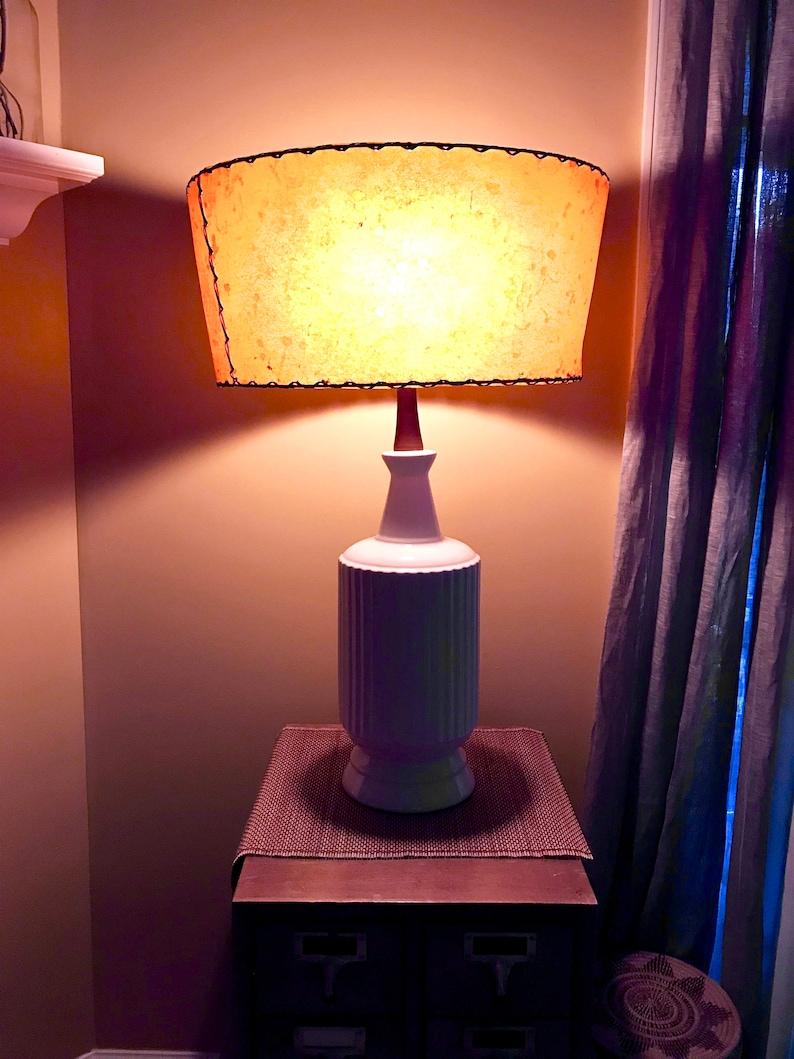 Picture of: Mid Century White Ceramic Lamp Ceramic And Teak Lamp White Etsy