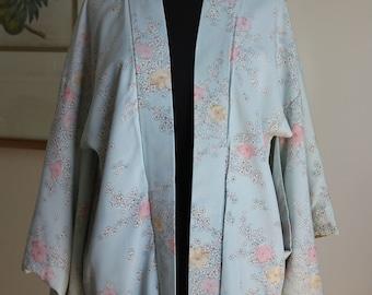 Galaxy Pisces Blue Koi Japanese Haori Chiffon Jacket