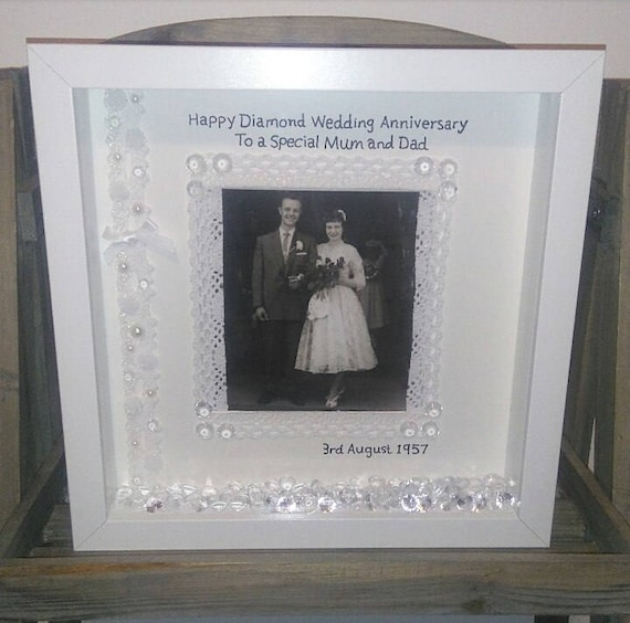 60th Wedding Anniversary Gift Anniversary Frame Diamond Etsy