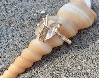 Quartz Point Gold Ring size 6.5