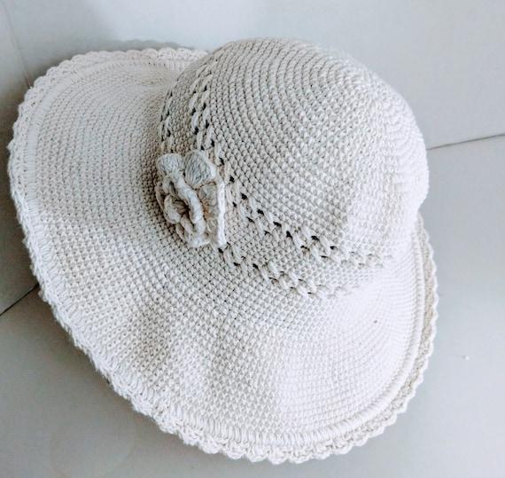 Summer Bucket Hat Wide Brim Crocheted Vintage - image 2