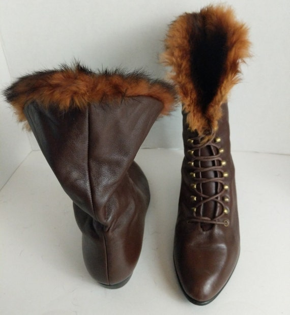 Granny Boot Italy Fur Trim Boots Brass Lug