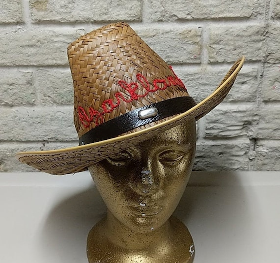 Vintage Straw Hat Cowboy Hat Vintage Embroidery