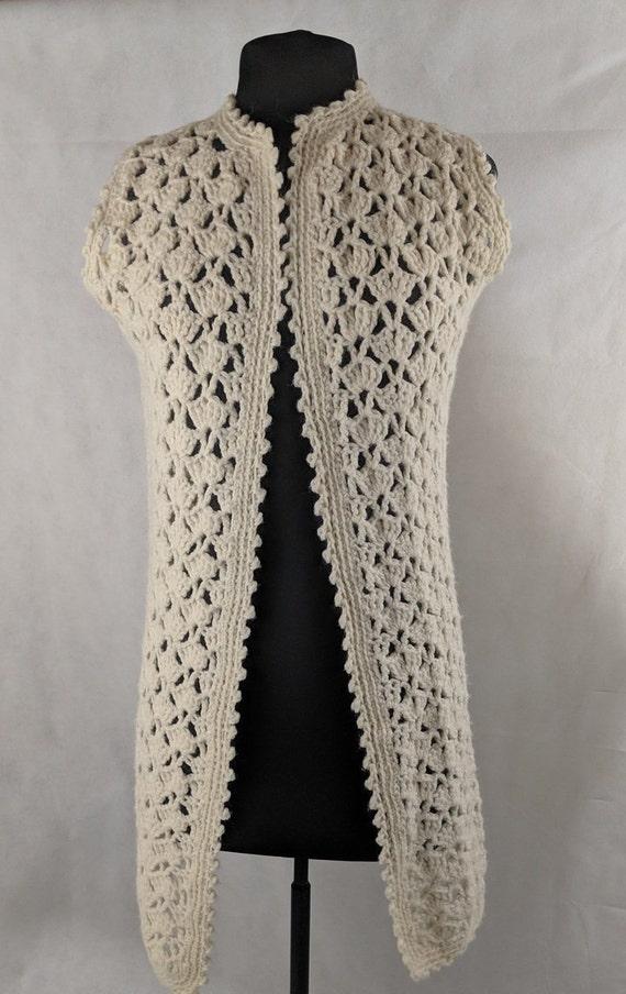 Boho Vest Vintage 70's Hand Crochet
