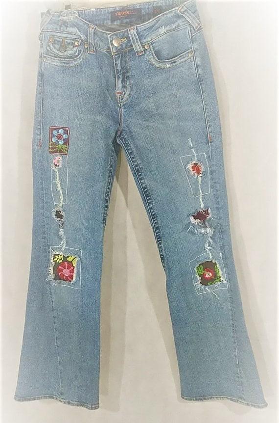 Boho Jeans Blue Jeans Destroyed Denim Patched Embr