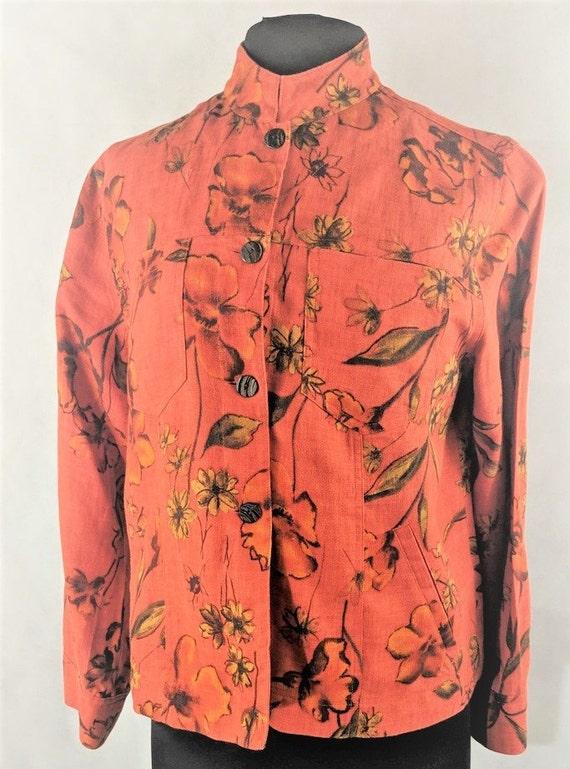 Floral Shirt Jacket Linen Mandarin Collar a3