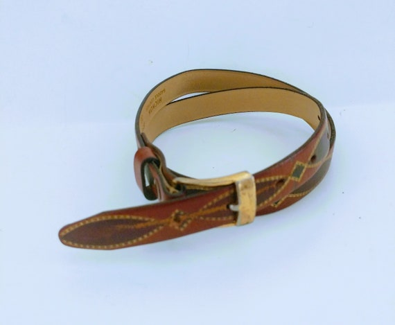 Tooled Leather Belt Southwestern