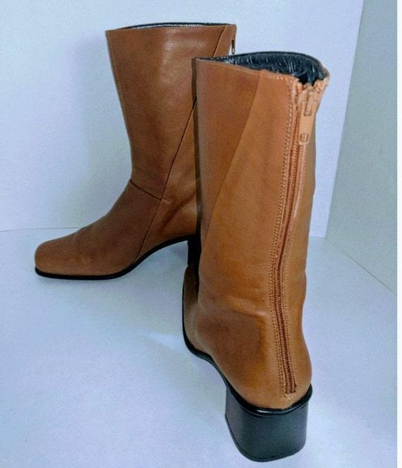 Italian Boot Back Zipper Boots Block Heel Low