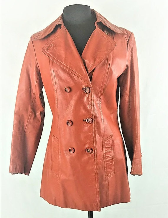 Boho Jacket Leather Trench Wide Lapel 1970s Hippie