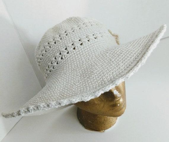 Summer Bucket Hat Wide Brim Crocheted Vintage
