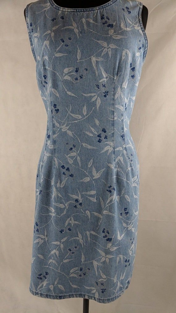 Denim Sheath Dress Floral