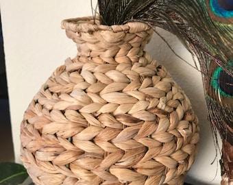 Vintage woven straw vase