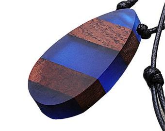 Zebra Crystal Oval Wood Resin Pendant Necklace Charm Spirit Necklace