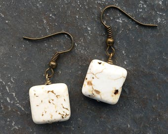 Stone Square Earrings