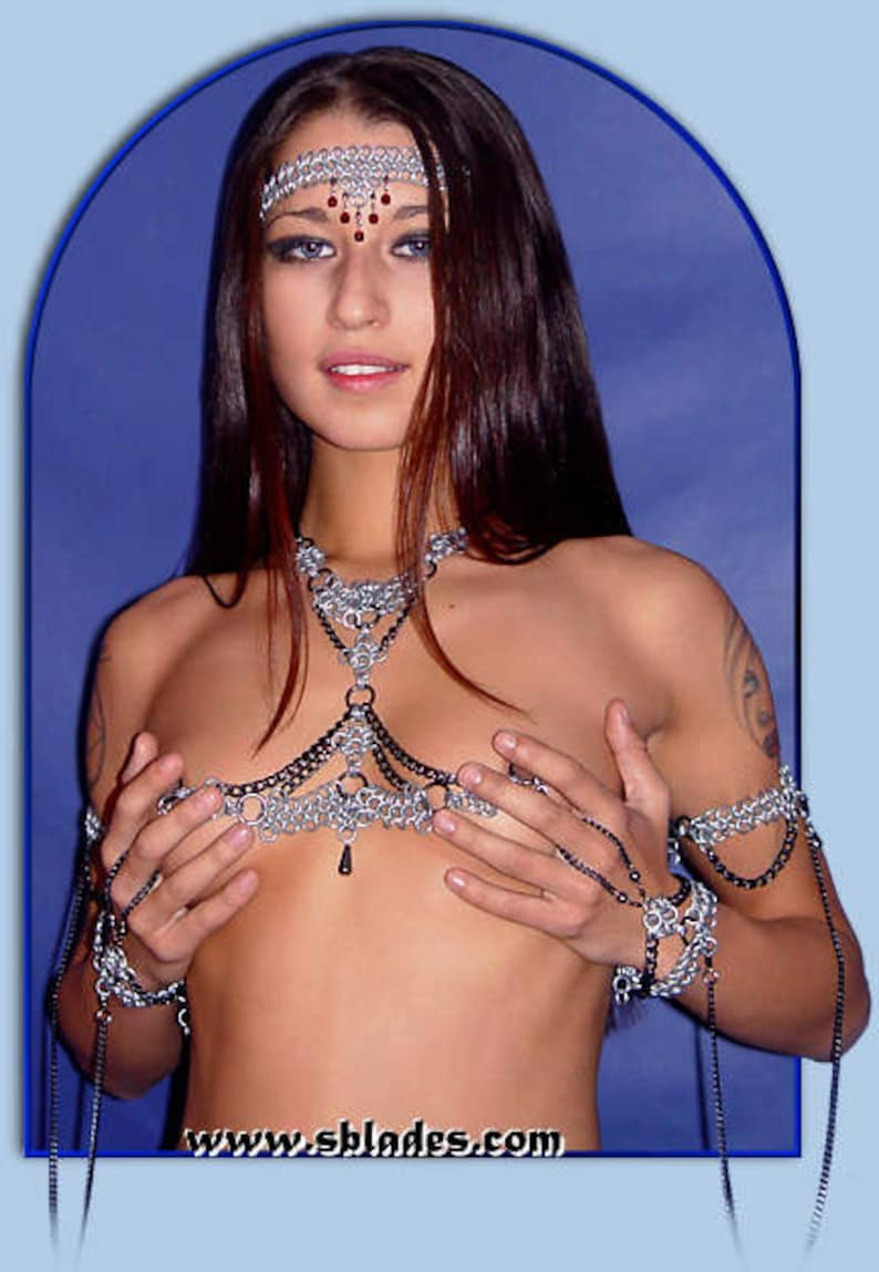 Raven Neck to Nipple Chains nonpiercing nipple jewelry in image 0