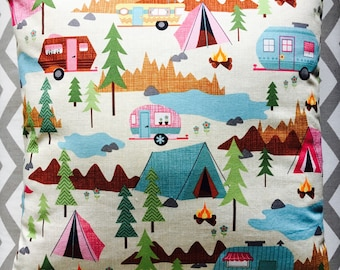Camping Trailer Park RV Pillow Cover