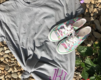 Embroidered Monogram Comfort Colors Long Sleeve T-Shirt