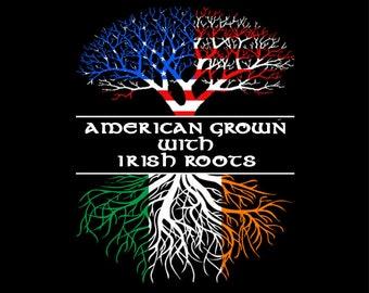 4d102021ed80d American Grown with Irish roots black t shirt #1035