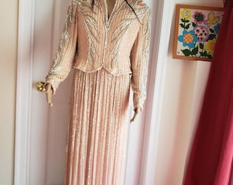 b65b043e 1980s Bob mackie Vintage Evening Dress antique,Rignston Evening, Wedding,  fully heavy beaded, long sleeve ,Light Pink Vintage clothing ,