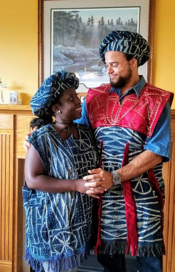 ROUGE/bleu/blanc & / Royal/fait main unisexe costume de, été, royale femelle décorative Afrique de l'Ouest, masculin, costumes, été, de, hiver, Notable PRINCE, princess, 652e75