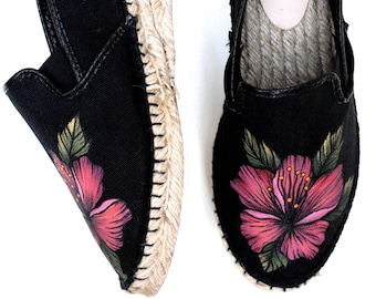 Tropical Summer Hand Painted Upcycled Recycled Women's Black Espadrille Canvas Shoes, Size 7.5, OOAK