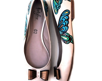 Aqua Butterfly, Hand Painted, Upcycled, Recycled, Women's Wide Fit Genuine Leather, Ballet Flats, Size 11, OOAK