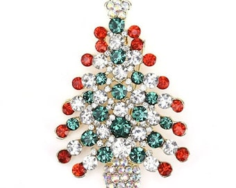 Festive Crystal CZ Christmas Tree Brooch/ Pin New Great Gift