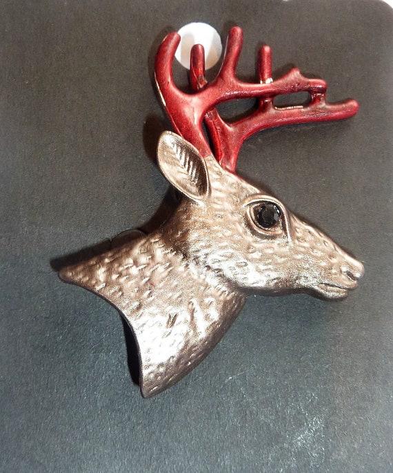 Colourful Christmas Reindeer Head Pin Badge Brooch