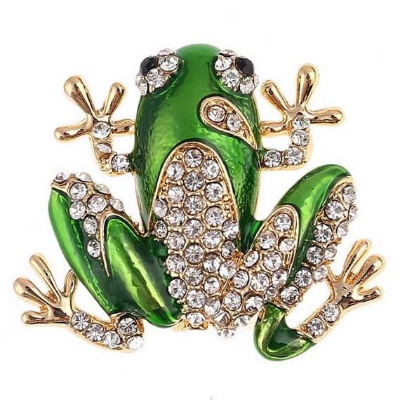 Cute Diamante and Enamel Green Frog  Brooch Pin New