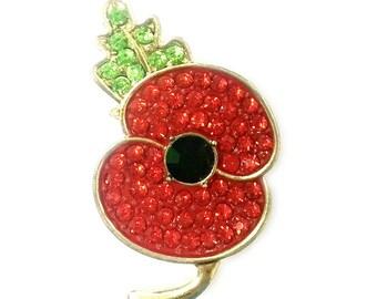Stunning Diamante Crystal Red Poppy Brooch