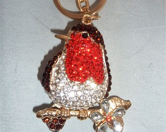 Sparkling Diamante Robin Red Breast Purse Handbag Charm Keyring Great Gift
