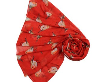 NEW Red Robin Red Breast Bird Print Scarf Wrap Christmas Gift