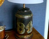 Antique Tea Tin Lidded Canister Jar Table Lamp. Black Brown. Number 84. Hand Painted. Desk Lamp. Library Lamp. Kitchen Lamp.