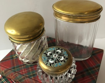 7e077578b 3 Vintage Brass topped Vanity Jars, Instant Collection, Glass, Crystal,  Brass, Enamel, Cut glass, Bathroom, Counter, Jar