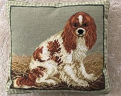 Vintage Needlepoint King Charles Cavalier Dog Pillow.