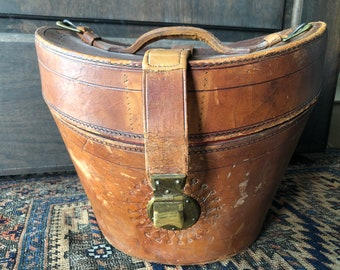 Antique Dunlap & Co. Leather Top Hat Box, Monogrammed, Travel Case, Luggage, Hat Box, Travel Stamps, Satin Lined, Metal Lock