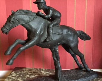 Old Vintage Steeplechase Horse and Rider figurine. Equine Decor, Equestrian figure. Kentucky  Derby Party Decor.